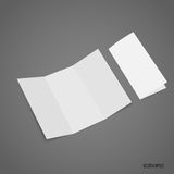 Trifold white template paper. Vector illustration Stock Images