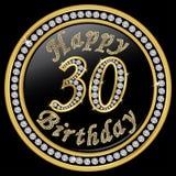 Trigésimo cumpleaños feliz, feliz cumpleaños 30 años, icono de oro con d Imagenes de archivo