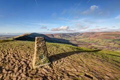 Trig Point on Mam Tor in the Peak District, Derbyshire, UK Stock Images