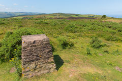 Trig Point on North Hill near Minehead UK with beautiful Somerset countryside. In the west of England royalty free stock images