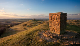 Trig point overlooking Warwickshire countryside Royalty Free Stock Image