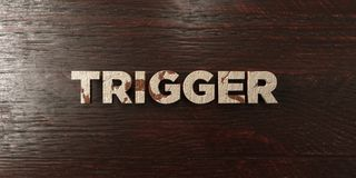 Trigger - grungy wooden headline on Maple  - 3D rendered royalty free stock image Royalty Free Stock Images