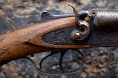 Trigger an old hunting rifle Stock Photo
