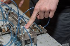 Free Trigger Pneumatics Application With The Push Of A Button Royalty Free Stock Image - 124777916