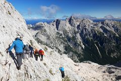 TRIGLAV, στις 12 Αυγούστου 2017 - ορειβάτες στην αιχμή Triglav, Σλοβενία, Ευρώπη Στοκ φωτογραφίες με δικαίωμα ελεύθερης χρήσης