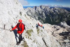 TRIGLAV, στις 12 Αυγούστου 2017 - ορειβάτες στην αιχμή Triglav, Σλοβενία, Ευρώπη Στοκ Εικόνες