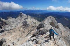 TRIGLAV, el 12 de agosto de 2017 - escaladores en el pico de Triglav, Eslovenia, Europa Fotografía de archivo libre de regalías