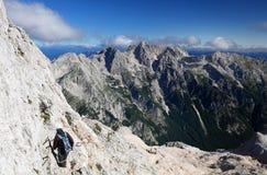 TRIGLAV, el 12 de agosto de 2017 - escaladores en el pico de Triglav, Eslovenia, Europa Imagen de archivo libre de regalías