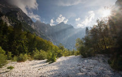 Triglav, highest peak in the Julian Alps. Stock Photo