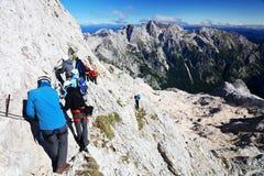 TRIGLAV, il 12 agosto 2017 - scalatori sul picco di Triglav, Slovenia, Europa Fotografie Stock