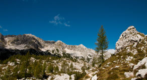 Triglav lakes valley hiking. High alpine cottage in Julian Alps, Slovenia stock images