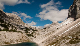 Triglav lakes valley hiking. Triglav lake hiking in Julian Alps, Slovenia Royalty Free Stock Photography
