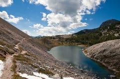 Triglav lakes valley hiking. Triglav lake hiking in Julian Alps, Slovenia royalty free stock photo