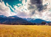 Triglav mountain range, view from the Gozd Martuljek village. Royalty Free Stock Photo