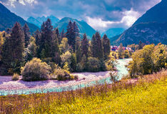 Triglav mountain range, view from the Gozd Martuljek village. Julian Alps, Slovenia. Instagram toning Stock Images