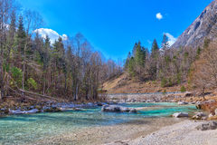 In the Triglav National Park in Slovenia, Eastern Europ. E, with clear bright ice-blue glacial rivers and the mighty mountain chains of the Julian Alpes and the royalty free stock photography