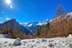In the Triglav National Park in Slovenia, Eastern Europ. E, with clear bright ice-blue glacial rivers and the mighty mountain chains of the Julian Alpes and the stock image
