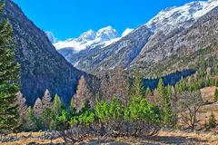 In the Triglav National Park in Slovenia, Eastern Europ. E, with clear bright ice-blue glacial rivers and the mighty mountain chains of the Julian Alpes and the stock photography