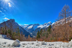 In the Triglav National Park in Slovenia, Eastern Europ. E, with clear bright ice-blue glacial rivers and the mighty mountain chains of the Julian Alpes and the royalty free stock images