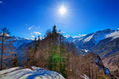 In the Triglav National Park in Slovenia, Eastern Europ. E, with clear bright ice-blue glacial rivers and the mighty mountain chains of the Julian Alpes and the royalty free stock photo