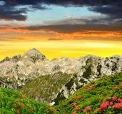 Triglav National Park at sunset Royalty Free Stock Photos
