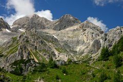 Triglav Peak seen from the chalet Vodnikov Dom Royalty Free Stock Image