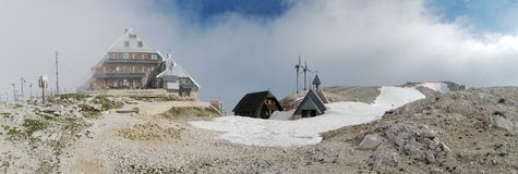 Triglavski dom na Kredarici mountain hut near Triglav in Julian Alps. In Slovenia Stock Photo