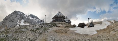 Triglavski dom na Kredarici mountain hut near Triglav in Julian Alps Royalty Free Stock Image