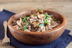 Trigo mourisco com cogumelos Imagens de Stock Royalty Free