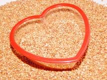 Trigo mourisco do fundo, trigo mourisco, grão do trigo mourisco Imagens de Stock Royalty Free