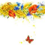 Trigo, wildflower y mariposa Imagen de archivo