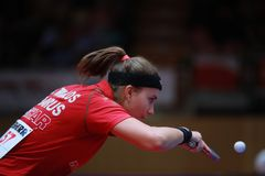 TRIGOLOS Daria from Belarus backhand. 2017 European Championships - First Round - Luxembourg Royalty Free Stock Photo