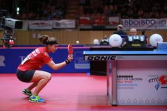 TRIGOLOS Daria from Belarus on serve. 2017 European Championships - First Round - Luxembourg Royalty Free Stock Images