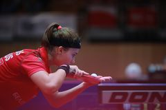 TRIGOLOS Daria from Belarus on serve. 2017 European Championships - First Round - Luxembourg Royalty Free Stock Photo
