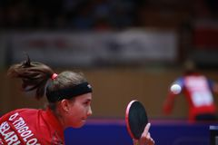 TRIGOLOS Daria from Belarus on serve. 2017 European Championships - First Round - Luxembourg Stock Images