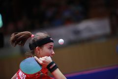 TRIGOLOS Daria from Belarus on serve. 2017 European Championships - First Round - Luxembourg Royalty Free Stock Image