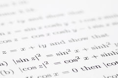 Trigonometric Equations Royalty Free Stock Photos