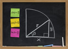 Trigonometric functions definition on blackboard Stock Photo