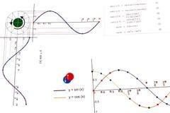 Trigonometry. Elements of elementary trigonometry: sin and cos functions Stock Photos