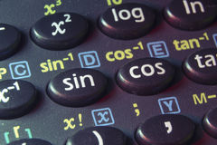 Trigonometry buttons. Trigonometry functions push buttons of scientific calculator; focus on sin button Stock Photos