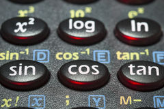 Trigonometry calc. Closeup fragment  scientific calculator with focus on triginometry push buttons Royalty Free Stock Photography