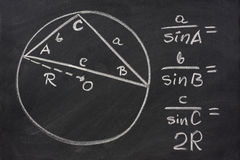 Trigonometry law explained on blackboard Stock Image