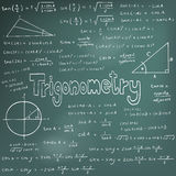Trigonometry law theory and mathematical formula equation, doodl Stock Image
