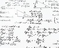Trigonometry math equations and formulas. Squared sheet of paper filled with trigonometry math equations and formulas as a background composition Stock Photos
