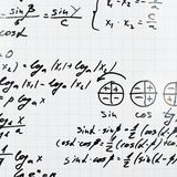 Trigonometry math equations and formulas. Squared sheet of paper filled with trigonometry math equations and formulas as a background composition Stock Images