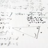 Trigonometry math equations and formulas. Squared sheet of paper filled with trigonometry math equations and formulas as a background composition with the Royalty Free Stock Photo