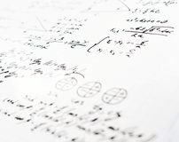 Trigonometry math equations and formulas. Squared sheet of paper filled with trigonometry math equations and formulas as a background composition with the Stock Image