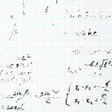 Trigonometry math equations and formulas. Squared sheet of paper filled with partially erased trigonometry math equations and formulas as a background Stock Photography