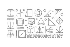 Trigonometry and math minimal illustration. Or banner in line style on white background Stock Image