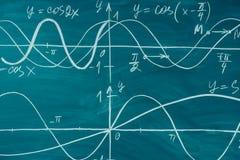 Trigonometry. School Chalkboard Function graphs Math lesson. Trigonometry. School Chalkboard Function graphs Math lesson stock photos